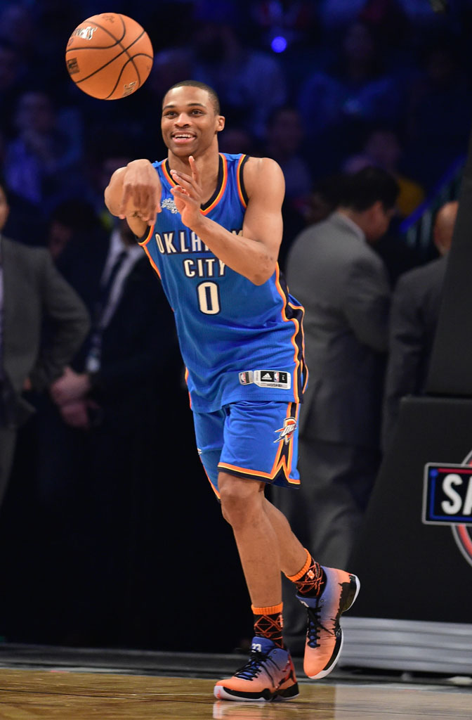 Feb 14, 2015; New York, NY, USA; Team Westbrook guard Russell Westbrook of the Oklahoma City Thunder (0) passes the basketball during the 2015 NBA All Star Shooting Stars competition at Barclays Center. Mandatory Credit: Bob Donnan-USA TODAY Sports