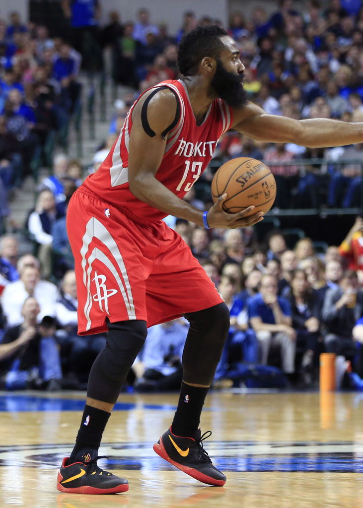 Feb 20, 2015; Dallas, TX, USA; Houston Rockets guard James Harden (13) during the game against the Dallas Mavericks at American Airlines Center. Mandatory Credit: Kevin Jairaj-USA TODAY Sports