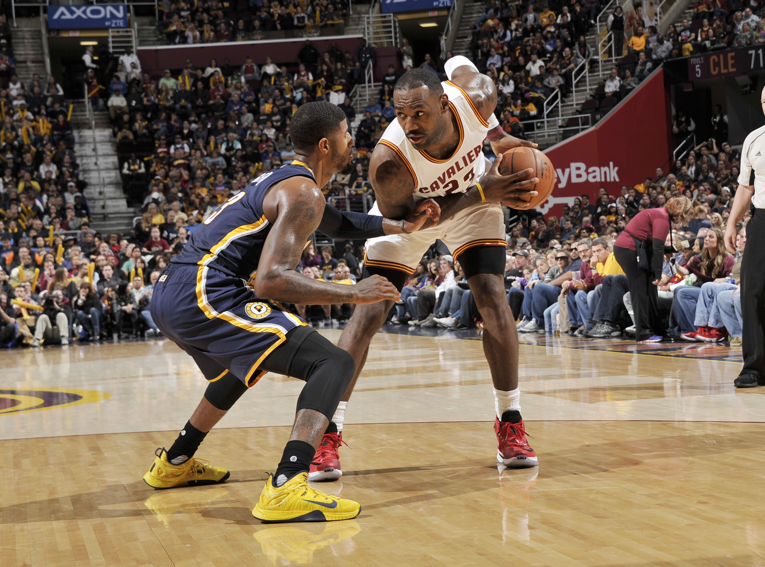 CLEVELAND, OH - NOVEMBER 8:  LeBron James #23 of the Cleveland Cavaliers handles the ball against Paul George #13 of the Indiana Pacers on November 8, 2015 at Quicken Loans Arena in Cleveland, Ohio. NOTE TO USER: User expressly acknowledges and agrees that, by downloading and/or using this Photograph, user is consenting to the terms and conditions of the Getty Images License Agreement. Mandatory Copyright Notice: Copyright 2015 NBAE  (Photo by David Liam Kyle/NBAE via Getty Images)